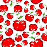 Red sketch apple seamless pattern. Vector on white background vector illustration