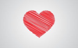 Red sketch heart with Valentine`s Day. Vector design Royalty Free Stock Photography