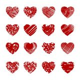 Red sketch hearts. Red drawing hearts. Cartoon sketch hearted vectors, abstract love symbols isolated on white background stock illustration