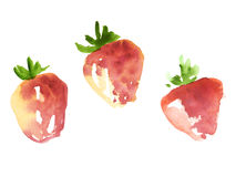 Red sketch style strawberry for menu, pattern, surface design. Hand drawn watercolor illustration Stock Image