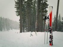 Red ski equipment stock photos