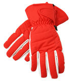 Red ski gloves, with clipping path Royalty Free Stock Photos