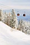 Red ski gondola. Royalty Free Stock Photography