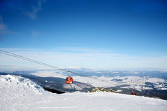Red  ski lift in ski resort Borovets in Bulgaria .Beautiful winter landscape Stock Images