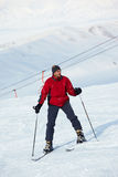 Red skier Stock Photo