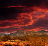 Red skies Sonora Desert Mountains. Sunset Sonora desert mountains in central Arizona USA Stock Photography
