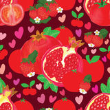 Red skin fruit seamless pattern Stock Photo