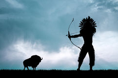 Red skin hunter and buffalo at sunset Stock Images