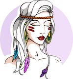 Red skin indian girl portrait - Vector illustratio Royalty Free Stock Image