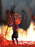 Red skinned winged demon in hell. Demon with red skin and black wings in fire and brimstone Royalty Free Stock Image