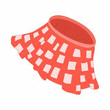 Red skirt with white squares icon, cartoon style Royalty Free Stock Image