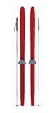 Red skis and sticks front view Stock Photography