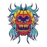 Red skull with bloe hair tatoo design Stock Image