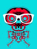 Red skull and bone with white glasses Royalty Free Stock Photo