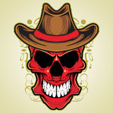 Red Skull with Cowboy Hat. Illustration Stock Images