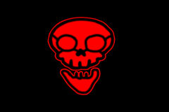 Red Skull. flat symbol pictogram on black background. red simple royalty free stock photos
