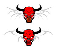 Red skull with the horn. On white background Stock Photo