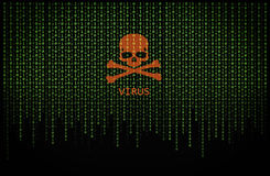 Red skull virus on binary computer code stock images