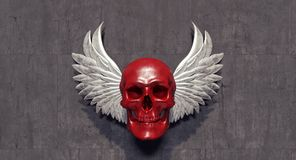 Red skull with white angel wings Stock Photos