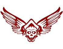 Red skull with wings. Vector illustration of a red wings and skull Stock Photos