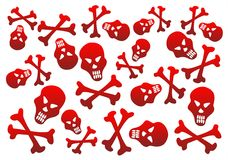 Red skulls background. Red skulls and bones on a white background Royalty Free Stock Images