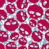 Red skulls seamless pattern, geometric contemporary style repeat Royalty Free Stock Images