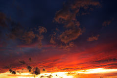 Red sky. View of dramatic sky with red sky Royalty Free Stock Image