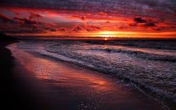 Red sky. Baltic sea, Baltiysk, Russia Stock Image