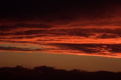 Red sky. Red sunset sky and clouds Royalty Free Stock Photo