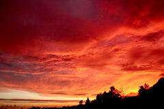 Red sky. Beautiful night with red light and clouds Royalty Free Stock Photography