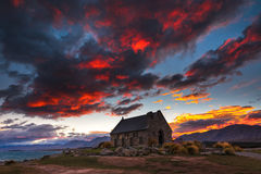 Red Sky at Church of the Good Shepherd Royalty Free Stock Photo