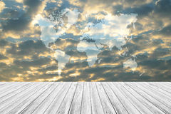 Red sky cloud with Wood terrace, Map. Nature cloudscape with red sky and white cloud with Wood terrace, Map Royalty Free Stock Images