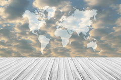 Red sky cloud with Wood terrace, Map. Nature cloudscape with red sky and white cloud with Wood terrace, Map Stock Photo