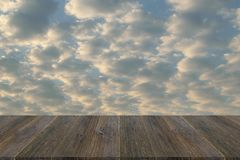 Red sky cloud with Wood terrace Royalty Free Stock Images