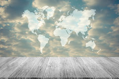 Red sky cloud with Wood terrace , process in vintage style, Map Stock Images