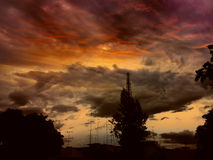 Red sky. Sky red evening Royalty Free Stock Photo