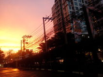 Red sky of my Thailand. Red sky at work Royalty Free Stock Image