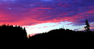Red Sky at Night. Brilliant red sunset with foreground silhouette royalty free stock images