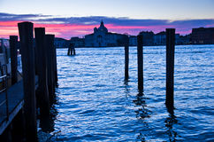 Red sky at sunrise in Venice near Grand Canal Royalty Free Stock Images