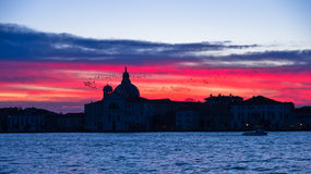 Red sky at sunrise in Venice near Grand Canal Stock Photography