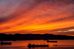 Red sky. Sunset red sky bay ships Royalty Free Stock Photography