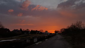 Red Sky. Sunset in the evening over the City Royalty Free Stock Images