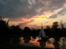 Red Sky. Tower Temple Buddhism Royalty Free Stock Image