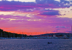 Red sky at twilight time on the Dalmatian coast Royalty Free Stock Photography