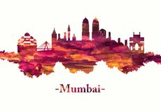 Mumbai India skyline in red vector illustration