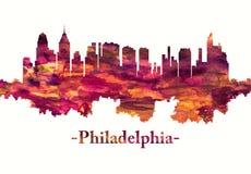 Philadelphia Pennsylvania skyline in red royalty free illustration