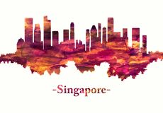 Singapore skyline in red vector illustration