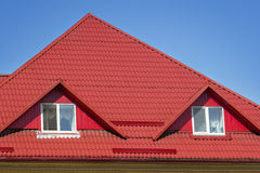 Red slated roofing Stock Images