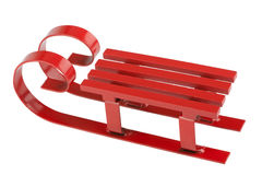 Red sled. Isolated in front of white background Stock Photos