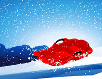 Red sledge on the slope Stock Images